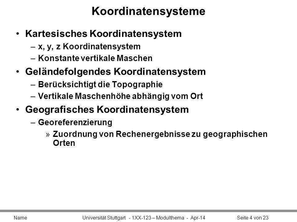 Koordinatensysteme Kartesisches Koordinatensystem –x, y, z Koordinatensystem –Konstante vertikale Maschen Geländefolgendes Koordinatensystem –Berücksichtigt die Topographie –Vertikale Maschenhöhe abhängig vom Ort Geografisches Koordinatensystem –Georeferenzierung »Zuordnung von Rechenergebnisse zu geographischen Orten Name Universität Stuttgart - 1XX-123 – Modulthema - Apr-14Seite 4 von 23
