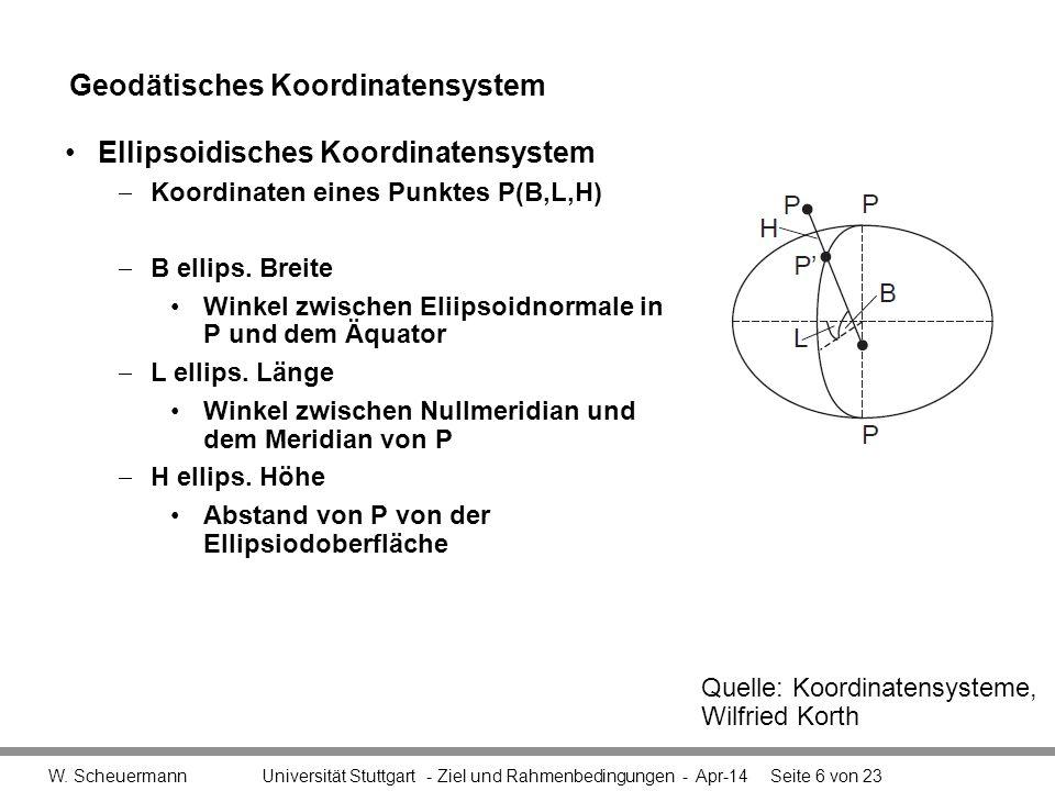 Geodätisches Koordinatensystem Bezugssystem, Referenzsystem –Referenzellipsoid, »das als Rechenfläche die Erdoberfläche im geophysikalischen Sinne annähert –Bessel-Ellipsoid »Bisher in Deutschland gebräuchlich –WGS84: World Geodatic System 1984 »Zunehmend von größerer Bedeutung »Referenzellipsoid für GPS Name Universität Stuttgart - 1XX-123 – Modulthema - Apr-14Seite 7 von 23 Bessel- Ellipsoid 1841 a = 6.377.397,155b = 6.356.078,965f = 1:299,15281 Erd-Ellipsoid WGS 84 a = 6.378.137,000b = 6.356.752,315f = 1:298,25722 Achsen a, b und der Abplattung f=(a-b)/a