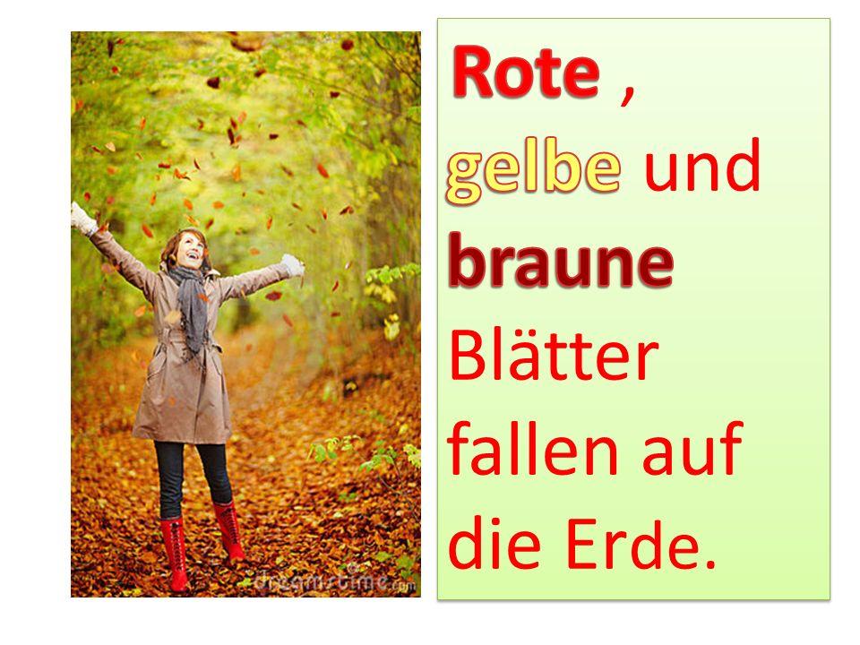 Die Blätter fallen und tanzen im Winde.