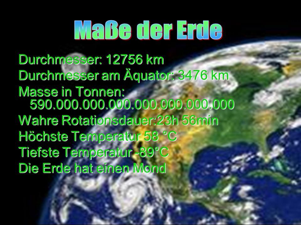 Durchmesser: 12756 km Durchmesser am Äquator: 3476 km Masse in Tonnen: 590.000.000.000.000.000.000.000 Wahre Rotationsdauer:23h 56min Höchste Temperat