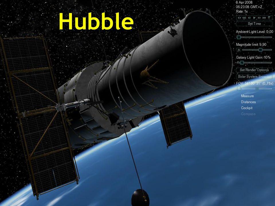 Das Hubble-Weltraumteleskop ist ein Roboter-Teleskop an den äußeren Rändern der Atmosphäre, in einer kreisförmigen Umlaufbahn um die Erde in 593 km Hö