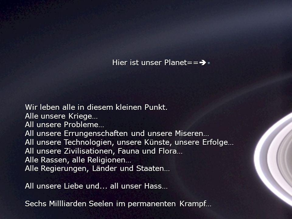 Konzentriere dich einen Moment auf das Foto Es wurde von Cassini-Huygens im Jahre 2004 aufgenommen, eine automatische Raumsonde, als sie die Saturn-Ri