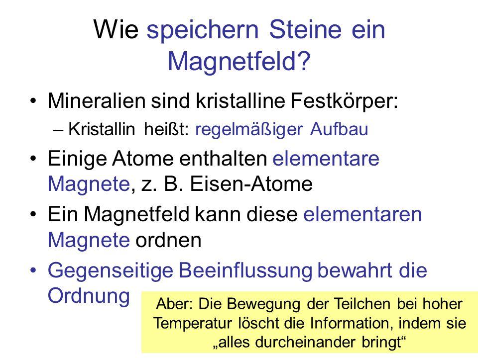 Wie speichern Steine ein Magnetfeld? Mineralien sind kristalline Festkörper: –Kristallin heißt: regelmäßiger Aufbau Einige Atome enthalten elementare