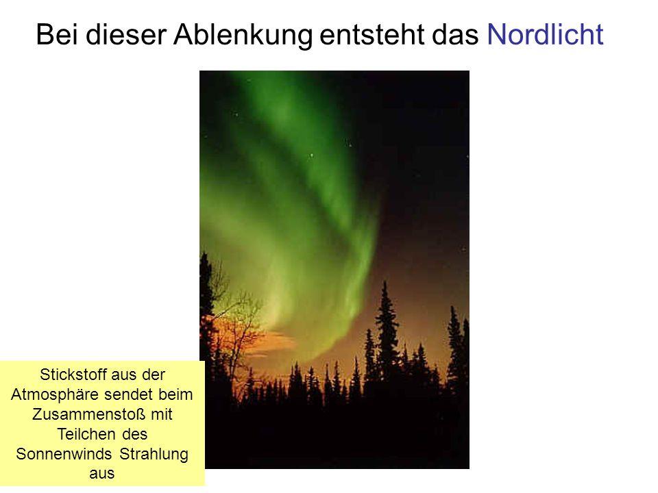 Bei dieser Ablenkung entsteht das Nordlicht Stickstoff aus der Atmosphäre sendet beim Zusammenstoß mit Teilchen des Sonnenwinds Strahlung aus