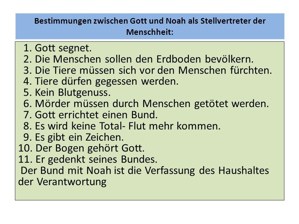 Bestimmungen zwischen Gott und Noah als Stellvertreter der Menschheit: 1. Gott segnet. 2. Die Menschen sollen den Erdboden bevölkern. 3. Die Tiere müs