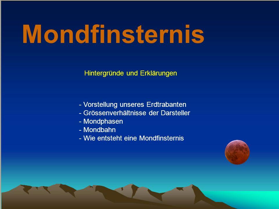 Mondfinsternis Hintergründe und Erklärungen - Vorstellung unseres Erdtrabanten - Grössenverhältnisse der Darsteller - Mondphasen - Mondbahn - Wie entsteht eine Mondfinsternis