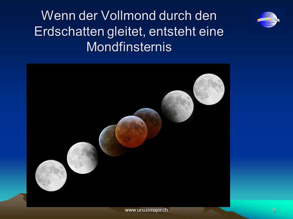 www.ursusmajor.ch9 Wenn der Vollmond durch den Erdschatten gleitet, entsteht eine Mondfinsternis