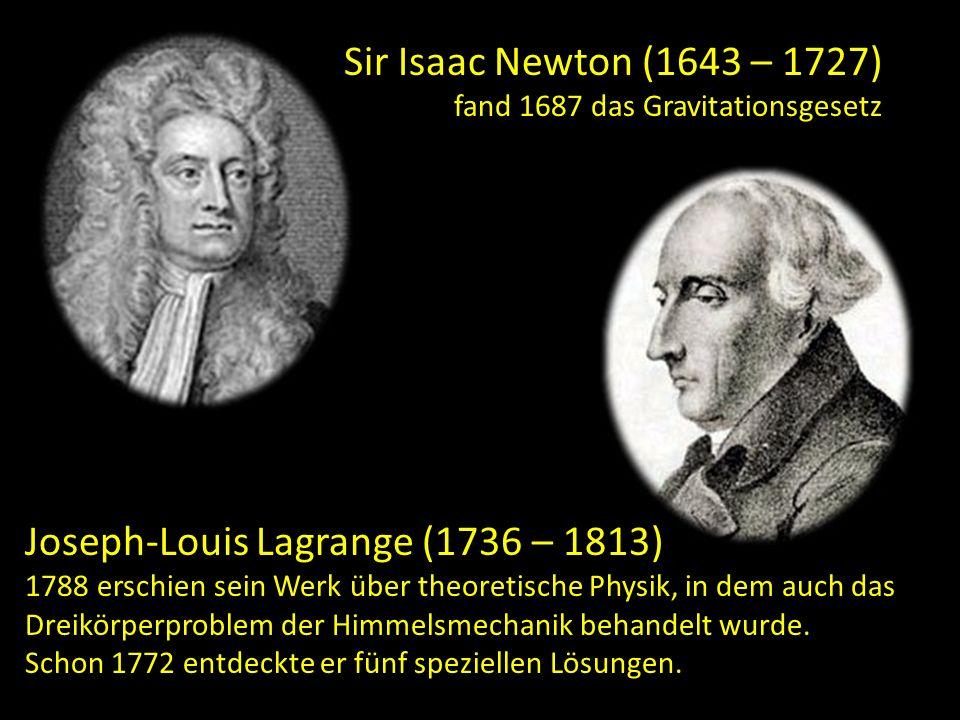Sir Isaac Newton (1643 – 1727) fand 1687 das Gravitationsgesetz Joseph-Louis Lagrange (1736 – 1813) 1788 erschien sein Werk über theoretische Physik,