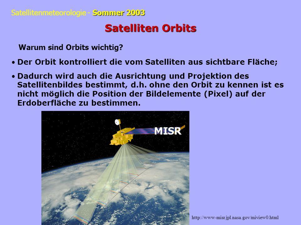 http://www.mmm.ucar.edu/pm/satellite/coverage.html#geostationary Zusammenfassung: LEO = Low Earth Orbit 300-1500 km MEO= Medium Earth Orbit 8000- 20000 km GEO = Geostationary Orbit ~36000 km Polare Orbits, je niedriger die Orbithöhe desto: Kürzer die Periode Geringer die Abdeckung der Oberfläche Stärker das Signal Besser die räumliche Auflösung Größer die Reibung und kürzer die Lebenszeit
