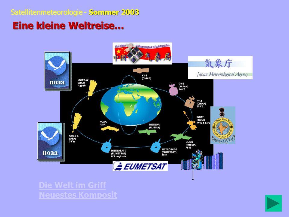 Sommer 2003 Satellitenmeteorologie - Sommer 2003 Die Welt im Griff Neuestes Komposit Eine kleine Weltreise…