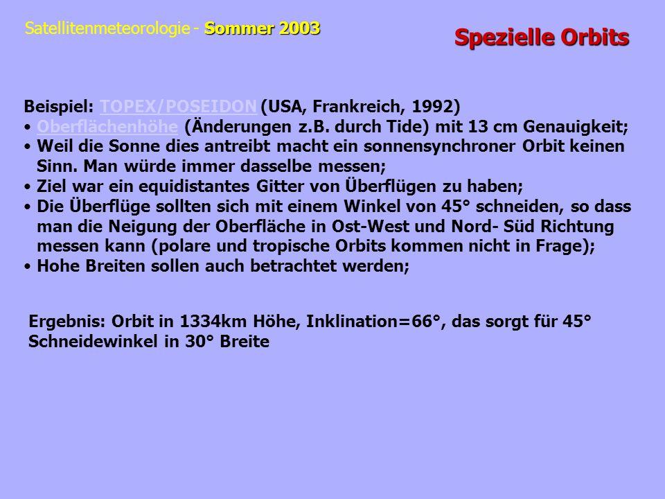 Sommer 2003 Satellitenmeteorologie - Sommer 2003 Spezielle Orbits Beispiel: TOPEX/POSEIDON (USA, Frankreich, 1992)TOPEX/POSEIDON Oberflächenhöhe (Ände
