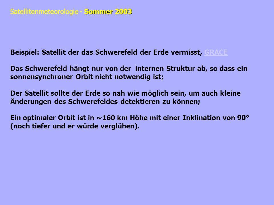 Sommer 2003 Satellitenmeteorologie - Sommer 2003 Beispiel: Satellit der das Schwerefeld der Erde vermisst, GRACEGRACE Das Schwerefeld hängt nur von de