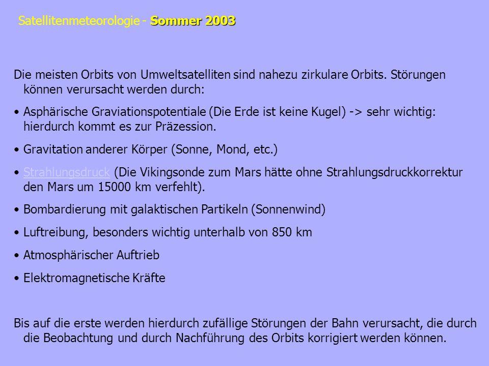 Sommer 2003 Satellitenmeteorologie - Sommer 2003 (1)Sonnen-synchroner, Polarer Orbit Die Orbitstörung durch das nicht-sphärische Gravitationsfeld kann vorteilhaft genutzt werden in dem die Inklination und die Orbithöhe so gewählt werden, dass der Orbit so präzessiert wie sich die Erde um die Sonne dreht.
