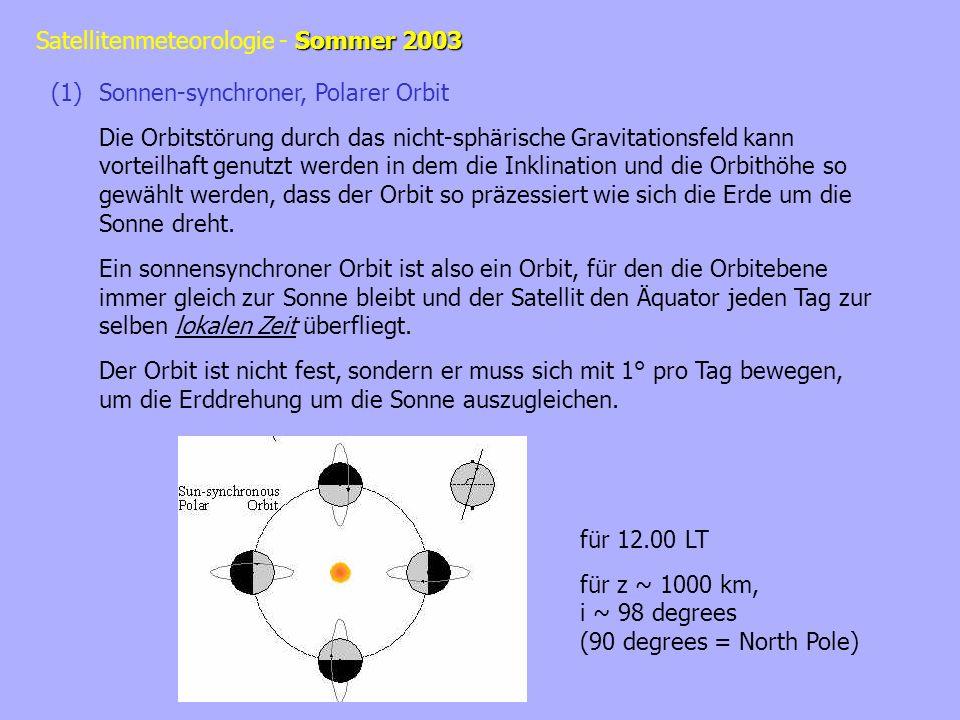Sommer 2003 Satellitenmeteorologie - Sommer 2003 Local Time: wobei:UT= Weltzeit, universal time, GMT (Greenwich Meridian Time) = Länge (Grad) Äquatorüberflugszeit (equator crossing time): wobei: N = Länge des aufsteigenden oder absteigenden Überflugs Länge der Sonne: mit folgt: = const.