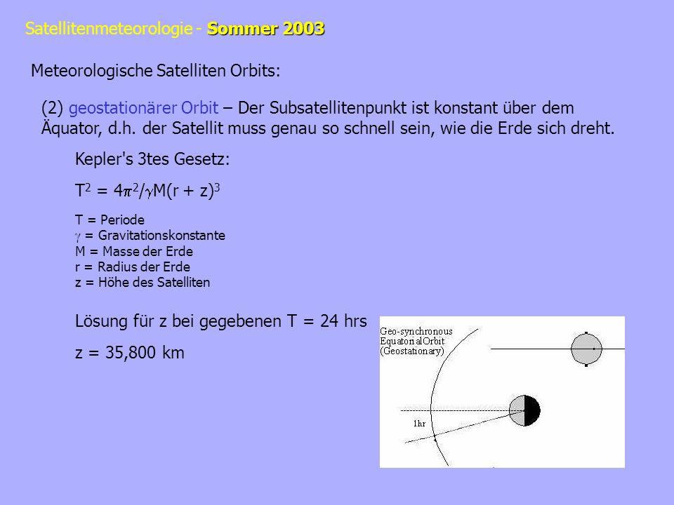 Sommer 2003 Satellitenmeteorologie - Sommer 2003 Meteorologische Satelliten Orbits: (2) geostationärer Orbit – Der Subsatellitenpunkt ist konstant übe
