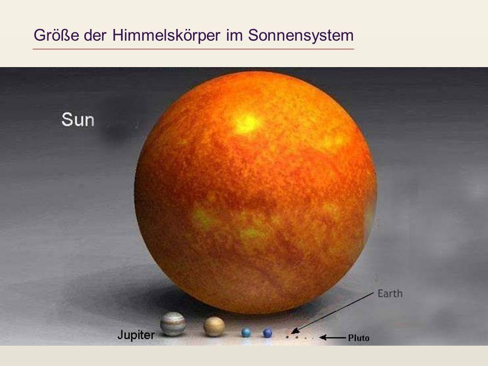 Größe der Himmelskörper im Sonnensystem