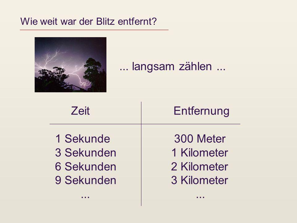 Wie weit war der Blitz entfernt? Zeit Entfernung 1 Sekunde 300 Meter 3 Sekunden 1 Kilometer 6 Sekunden 2 Kilometer 9 Sekunden 3 Kilometer......... lan