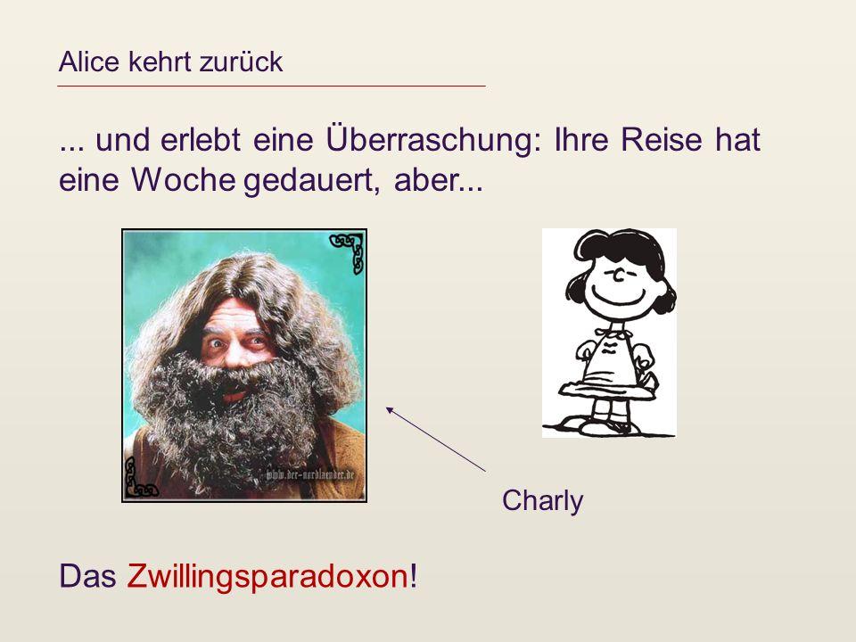 Alice kehrt zurück... und erlebt eine Überraschung: Ihre Reise hat eine Woche gedauert, aber... Charly Das Zwillingsparadoxon!
