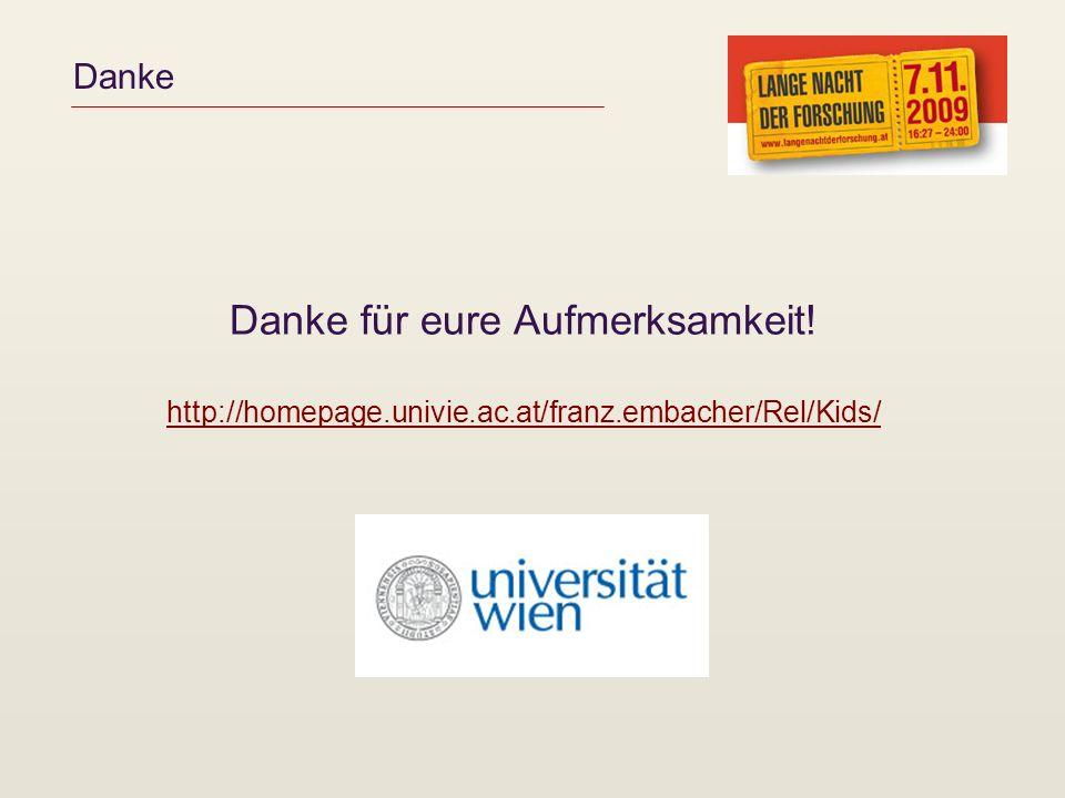 Danke Danke für eure Aufmerksamkeit! http://homepage.univie.ac.at/franz.embacher/Rel/Kids/