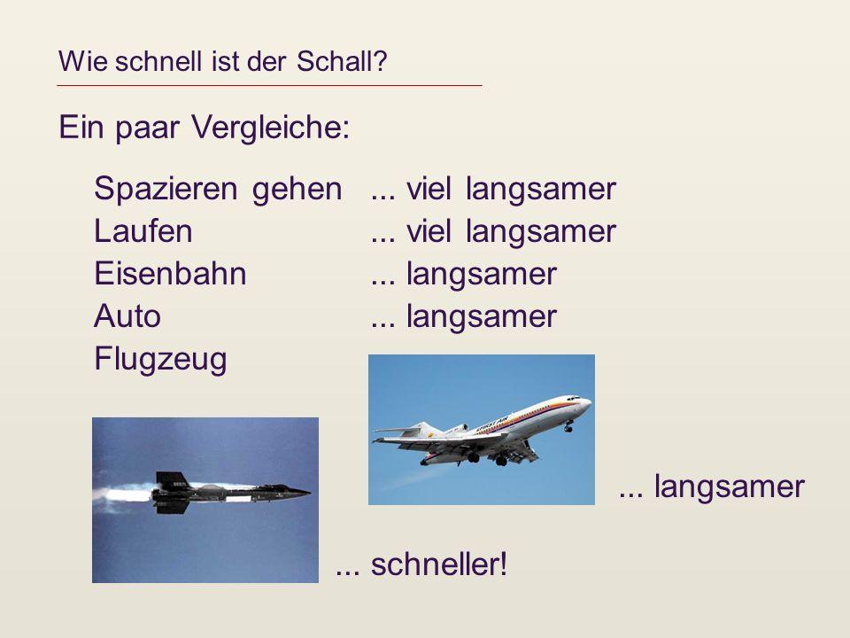 Wie schnell ist der Schall? Ein paar Vergleiche: Spazieren gehen Laufen Eisenbahn Auto Flugzeug... viel langsamer... langsamer... schneller!... langsa