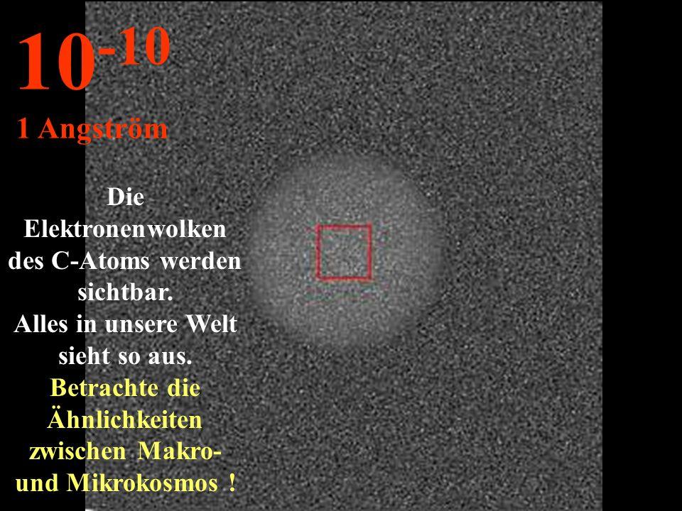 Die Elektronenwolken des C-Atoms werden sichtbar.Alles in unsere Welt sieht so aus.