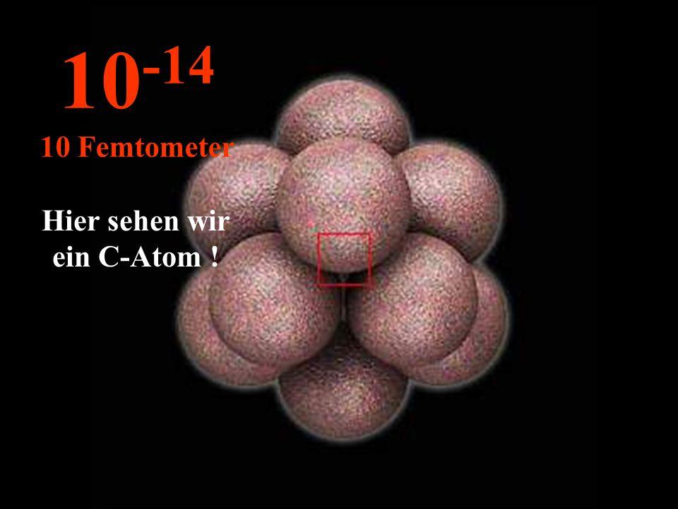 Hier sehen wir ein C-Atom ! 10 -14 10 Femtometer