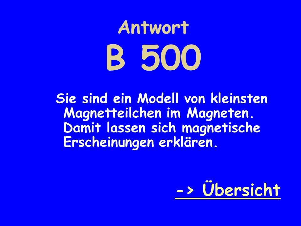 Antwort B 500 Sie sind ein Modell von kleinsten Magnetteilchen im Magneten. Damit lassen sich magnetische Erscheinungen erklären. -> Übersicht