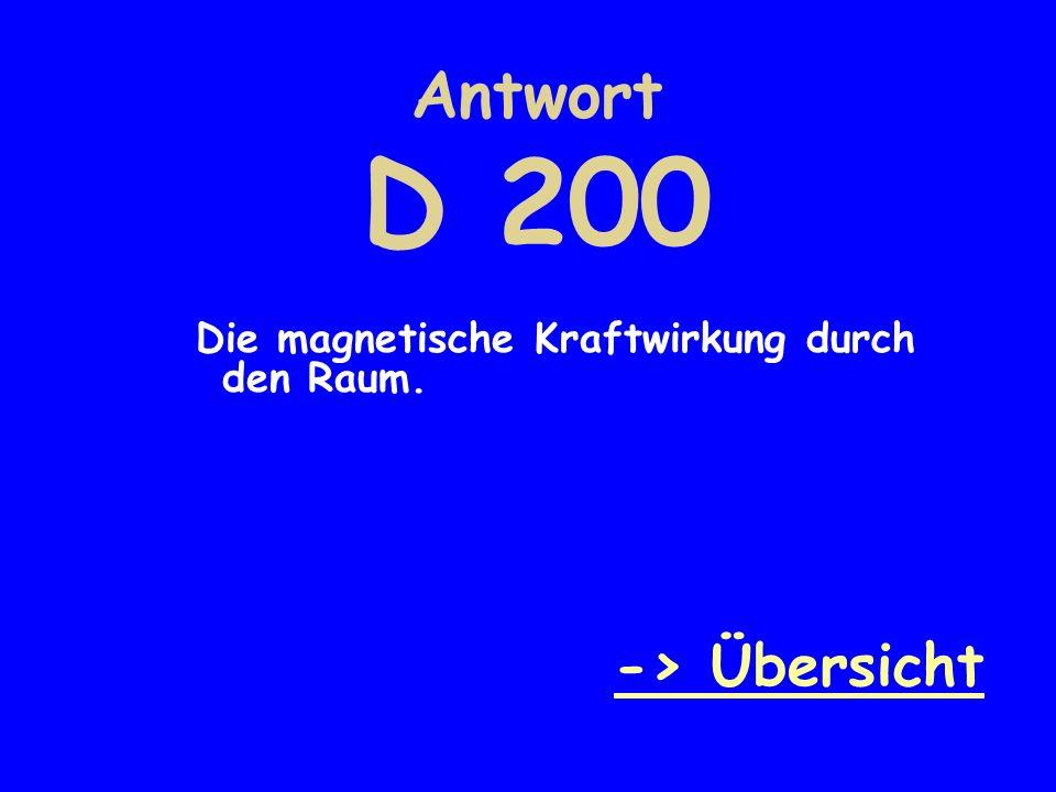 Antwort D 200 Die magnetische Kraftwirkung durch den Raum. -> Übersicht