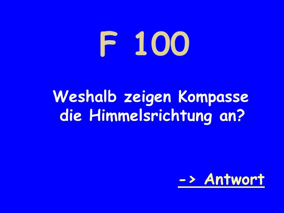 F 100 -> Antwort Weshalb zeigen Kompasse die Himmelsrichtung an?