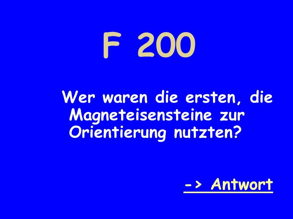 F 200 Wer waren die ersten, die Magneteisensteine zur Orientierung nutzten? -> Antwort