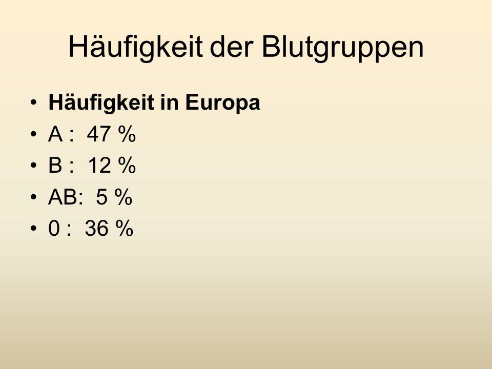 Häufigkeit der Blutgruppen Häufigkeit in Europa A : 47 % B : 12 % AB: 5 % 0 : 36 %