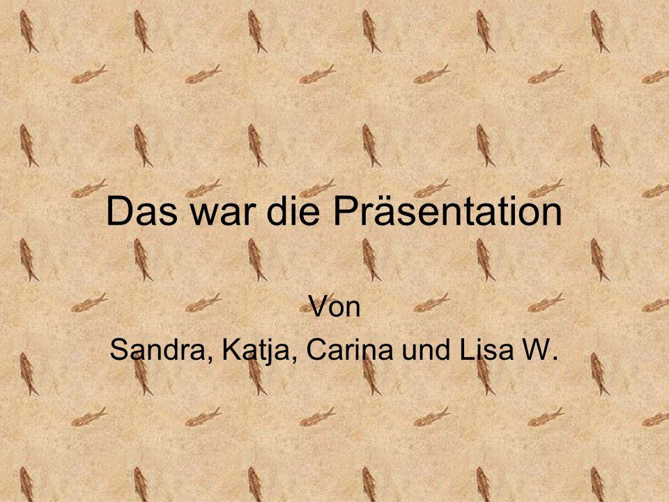 Das war die Präsentation Von Sandra, Katja, Carina und Lisa W.