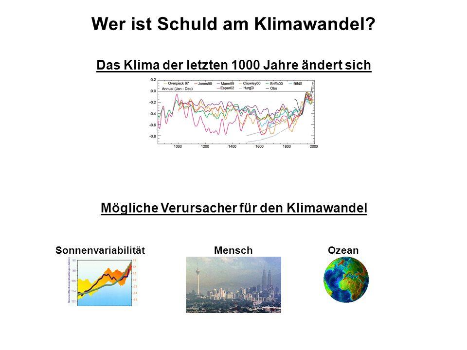 Wer ist Schuld am Klimawandel? Sonnenvariabilität Mögliche Verursacher für den Klimawandel MenschOzean Das Klima der letzten 1000 Jahre ändert sich