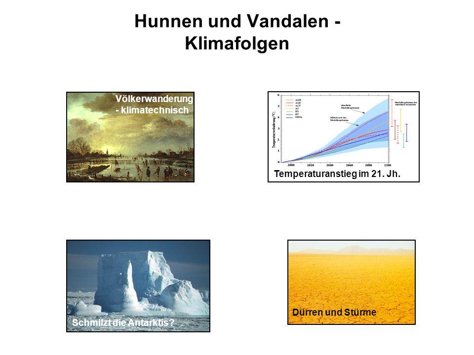 Hunnen und Vandalen - Klimafolgen Völkerwanderung - klimatechnisch Schmilzt die Antarktis? Temperaturanstieg im 21. Jh. Dürren und Stürme