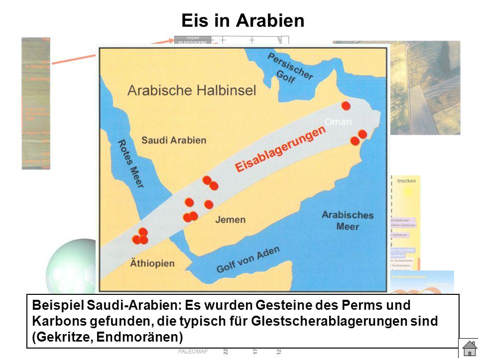 Eis in Arabien Beispiel Saudi-Arabien: Es wurden Gesteine des Perms und Karbons gefunden, die typisch für Glestscherablagerungen sind (Gekritze, Endmo