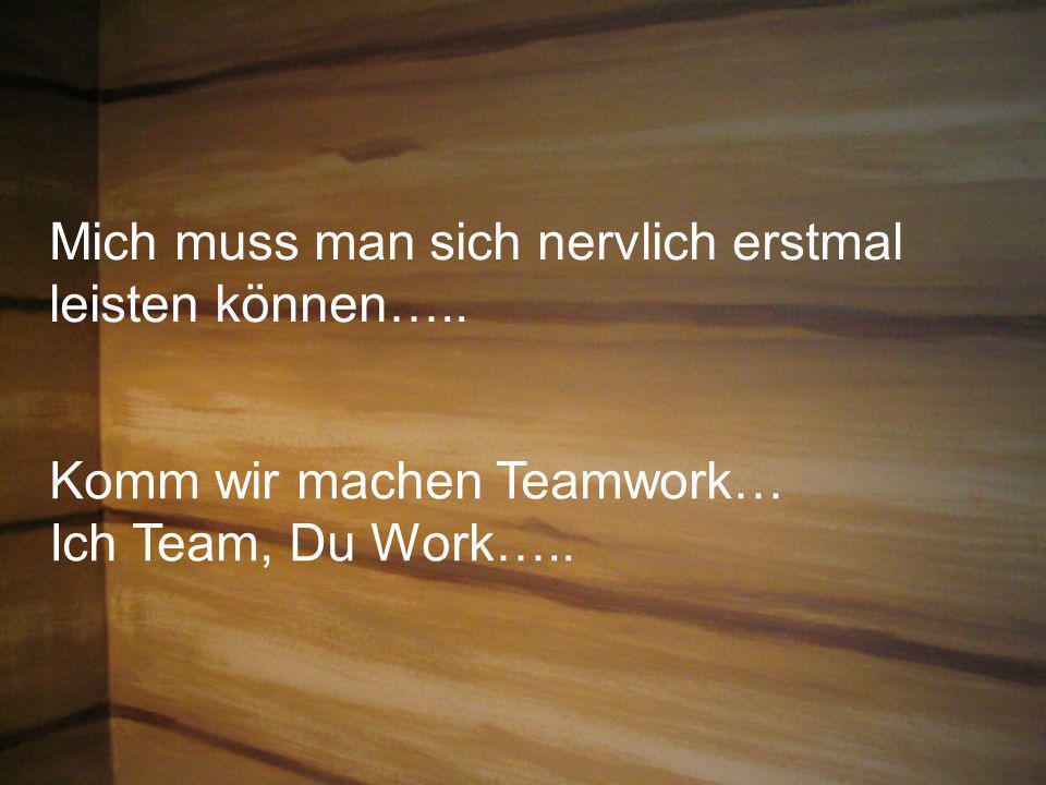 Mich muss man sich nervlich erstmal leisten können….. Komm wir machen Teamwork… Ich Team, Du Work…..