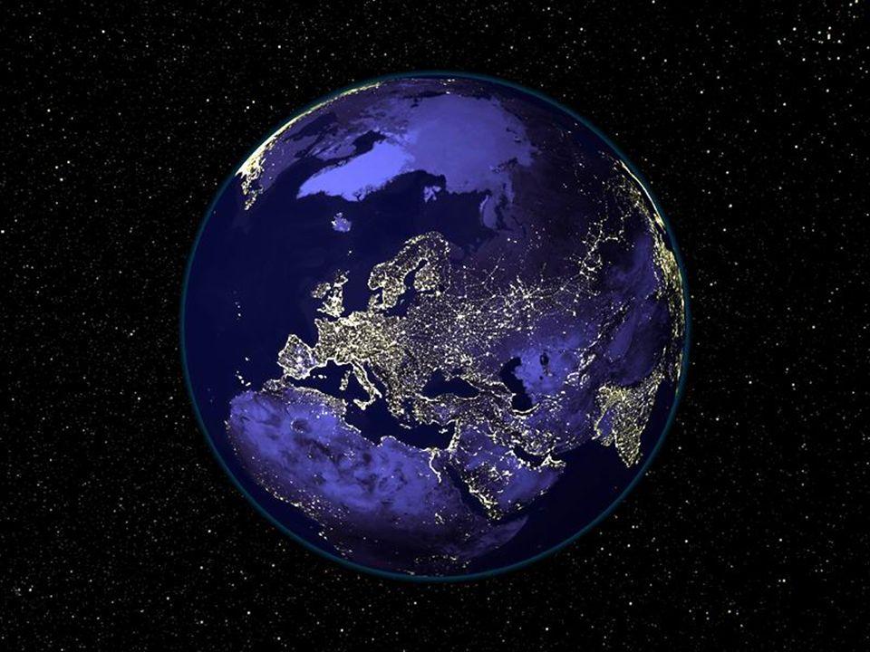 Die Erde bei Nacht in der Mitte des Universums