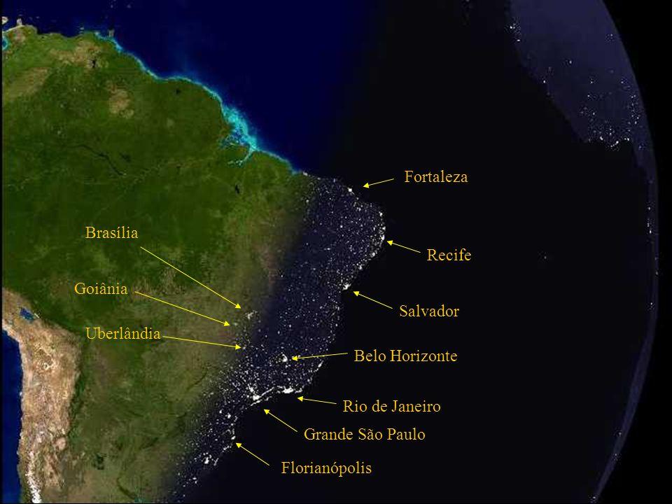 Grande São Paulo Rio de Janeiro Belo Horizonte Salvador Atlantic Ocean Brazilian Continental Platform. NIGHTFALL IN BRAZIL