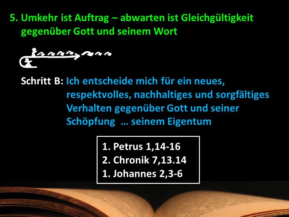 5. Umkehr ist Auftrag – abwarten ist Gleichgültigkeit gegenüber Gott und seinem Wort Schritt B: Ich entscheide mich für ein neues, respektvolles, nach