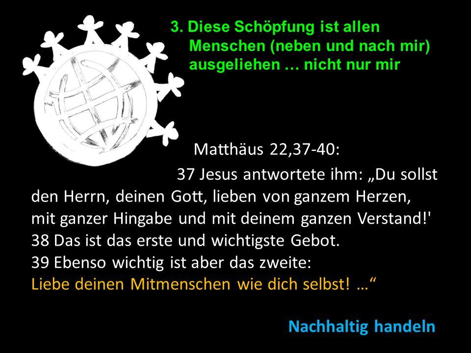 3. Diese Schöpfung ist allen Menschen (neben und nach mir) ausgeliehen … nicht nur mir Matthäus 22,37-40: 37 Jesus antwortete ihm: Du sollst den Herrn