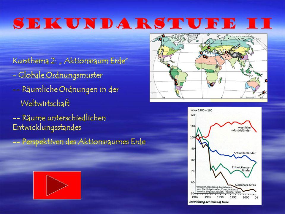 Sekundarstufe II Kursthema 2: Aktionsraum Erde - Globale Ordnungsmuster -- Räumliche Ordnungen in der Weltwirtschaft -- Räume unterschiedlichen Entwicklungsstandes -- Perspektiven des Aktionsraumes Erde