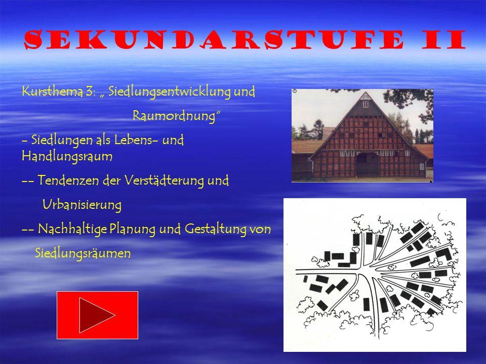 Sekundarstufe II Kursthema 3: Siedlungsentwicklung und Raumordnung - Siedlungen als Lebens- und Handlungsraum -- Tendenzen der Verstädterung und Urbanisierung -- Nachhaltige Planung und Gestaltung von Siedlungsräumen