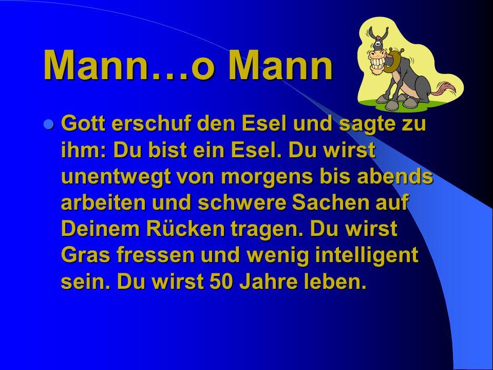 Mann…o Mann Gott erschuf den Esel und sagte zu ihm: Du bist ein Esel.