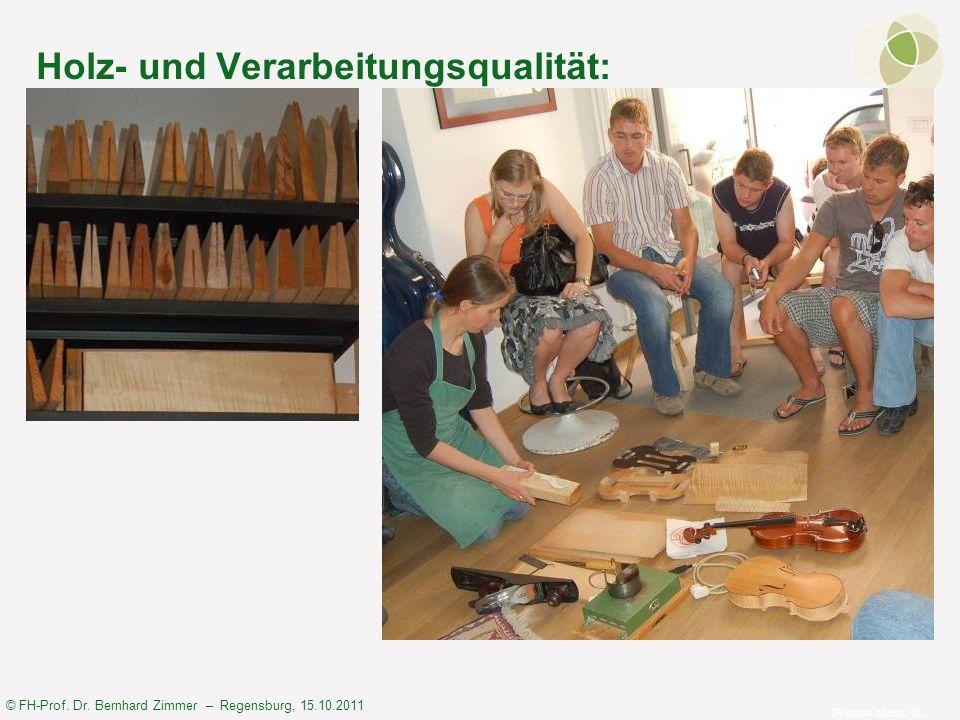 © FH-Prof. Dr. Bernhard Zimmer – Regensburg, 15.10.2011 Holz- und Verarbeitungsqualität: Photos oben: B. Zimmer