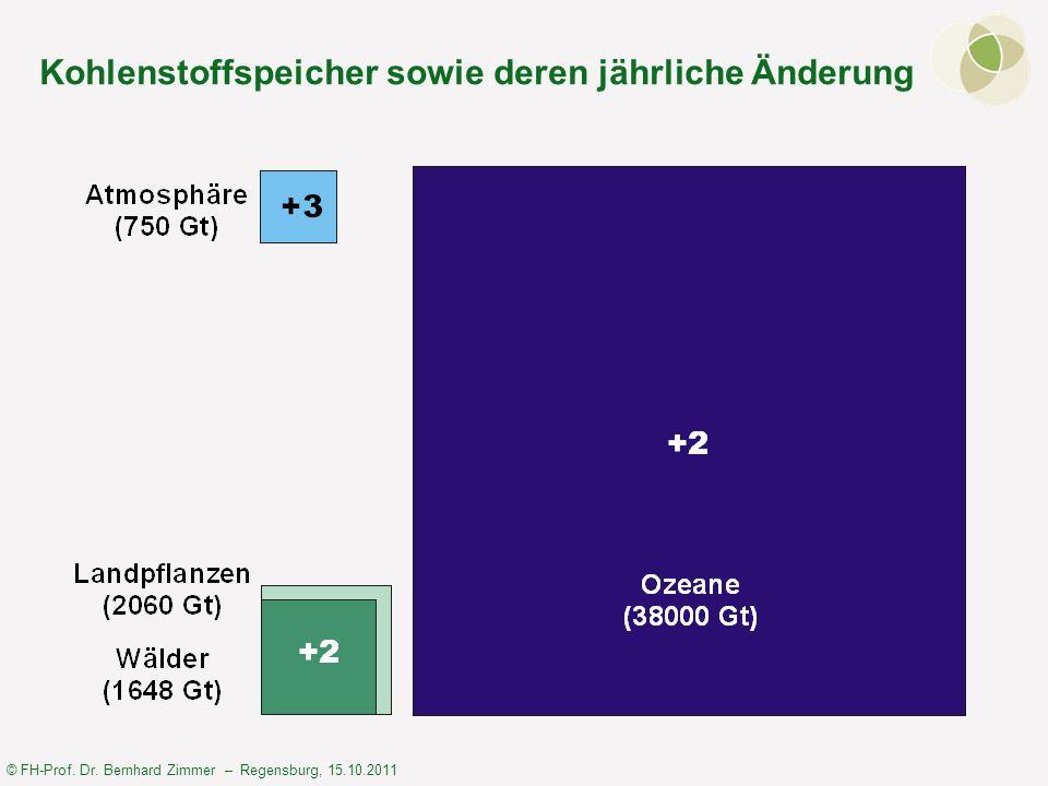 © FH-Prof. Dr. Bernhard Zimmer – Regensburg, 15.10.2011 Kohlenstoffspeicher sowie deren jährliche Änderung