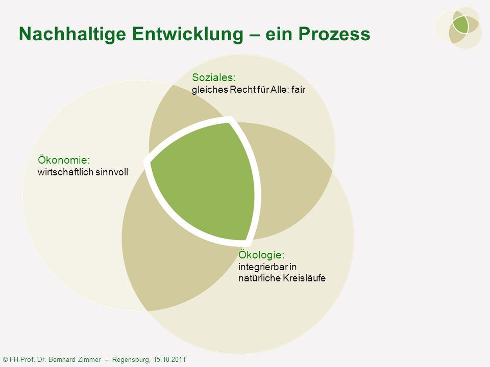 © FH-Prof. Dr. Bernhard Zimmer – Regensburg, 15.10.2011 Nachhaltige Entwicklung – ein Prozess Ökonomie: wirtschaftlich sinnvoll Ökologie: integrierbar