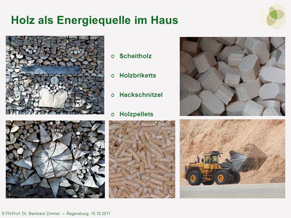 © FH-Prof. Dr. Bernhard Zimmer – Regensburg, 15.10.2011 Holz als Energiequelle im Haus oScheitholz oHolzbriketts oHackschnitzel oHolzpellets