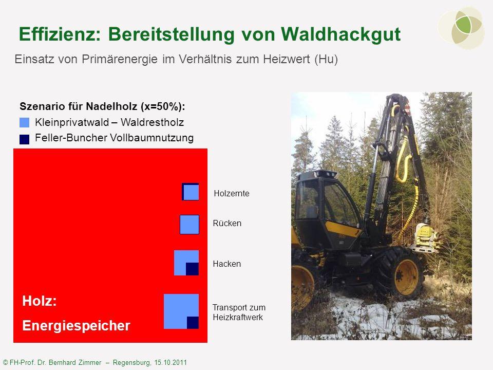 © FH-Prof. Dr. Bernhard Zimmer – Regensburg, 15.10.2011 Effizienz: Bereitstellung von Waldhackgut Einsatz von Primärenergie im Verhältnis zum Heizwert