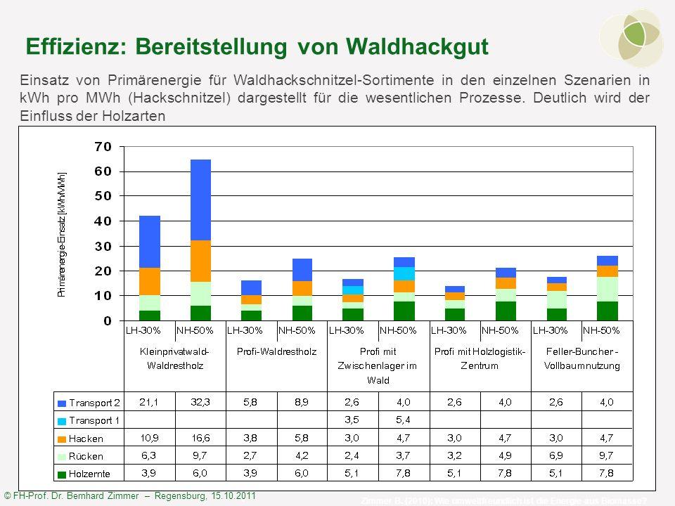 © FH-Prof. Dr. Bernhard Zimmer – Regensburg, 15.10.2011 Effizienz: Bereitstellung von Waldhackgut Einsatz von Primärenergie für Waldhackschnitzel-Sort