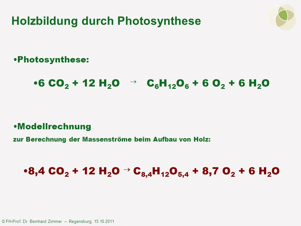 © FH-Prof. Dr. Bernhard Zimmer – Regensburg, 15.10.2011 Holzbildung durch Photosynthese Photosynthese: 6 CO 2 + 12 H 2 O C 6 H 12 O 6 + 6 O 2 + 6 H 2